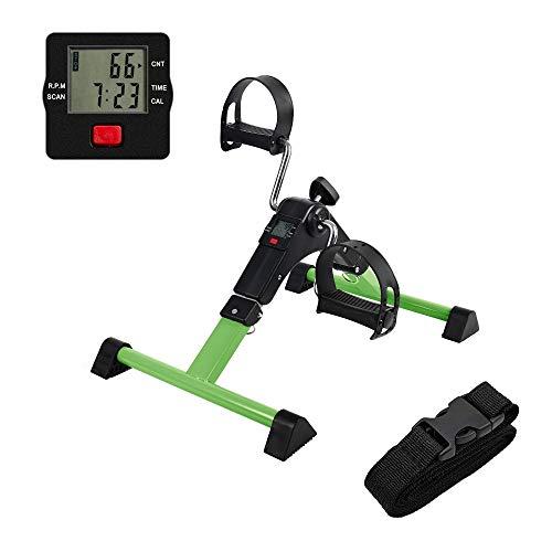 AHMED Folding Under Desk Bike Pedal Exerciser for Arm/Leg Medical Fitness Exercise Bike Mini Portable Home Workout (Green)