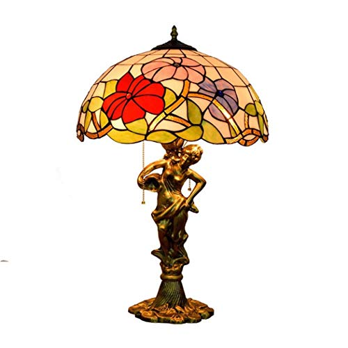 ZPZ-Iluminación Lámparas de mesa estilo Tiffany de 16 pulgadas, lámparas de cabecera con vitrales para el dormitorio, lámparas de mesa con decoración de sirena pastoral europea, 3 luces, E27, MAX40W N