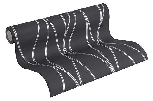 A.S. Création Vliestapete Trendwall Tapete gestreift 10,05 m x 0,53 m grau metallic schwarz Made in Germany 371324 3713-24