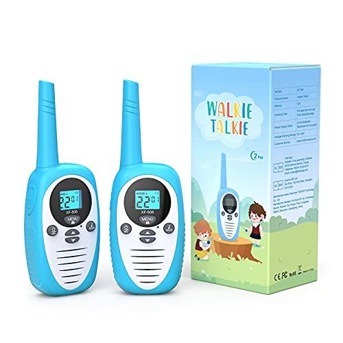 Walkie-talkie, Walkie Talkie Bambini, giocattoli per bambini per ragazzi e ragazze di 3-12 anni, suono chiaro, portata di 1,86 miglia, display LCD a 22 canali,bianco e blu, confezione da 2