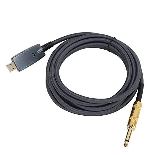 Kafuty-1 Cable de Guitarra USB de 3M Cable USB Macho a 6.35 mm USB Macho a 6.35 mm Macho Cable de Guitarra Cable de conexión de grabación Adaptador de Cable Compatible con Windows y MacOS