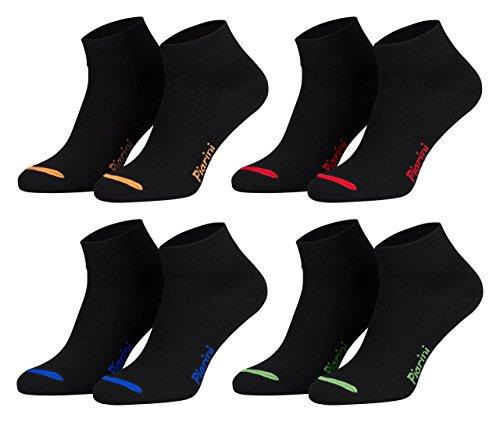 Piarini 8 Paar kurze Socken Kurzsocken Quarter Socken für Damen Herren Kinder - dünn, ohne Gummibund - schwarz mit Neonspitze 39-42