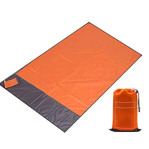 LAIABOR Wasserdichte Tasche Picknick Blanket Moistureproof Picknick-Matte im Freien Camping Tasche Picknick Matte tragbare Faltung,Orange,1.4x2m