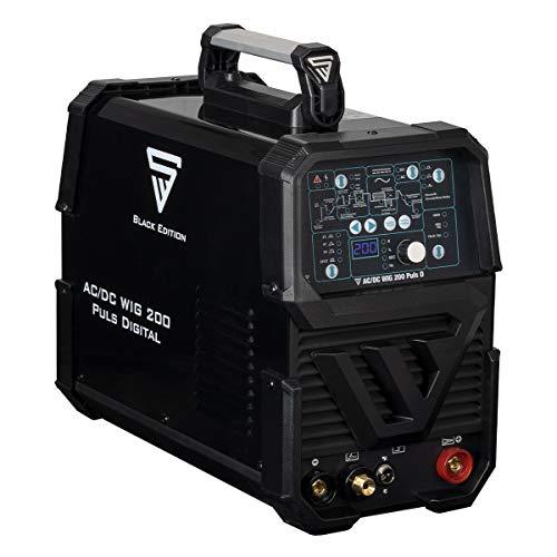 STAHLWERK AC/DC WIG 200 Puls D IGBT, Schwarz, digitales Schweißgerät mit 200 Ampere WIG MMA, Job-Speicher, ALU Dünnblech geeignet, 7 Jahre Garantie