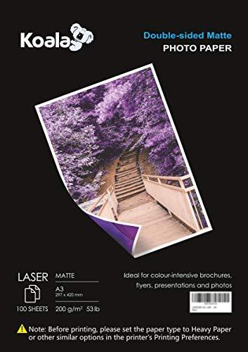 KOALA Carta fotografica Opaca Fronte-Retro per stampante LASER, A3, 200 g/m², 100 fogli. Adatto per la stampa di Foto, Brochure, Certificati, Opuscoli, Volantini, Biglietti, Calendari, Copertine