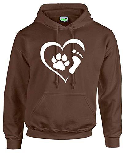 Bimaxx® Hoodie | Herz mit Fußabdruck und Hundepfote | braun | Größe S