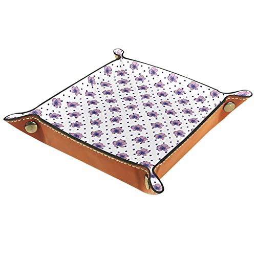 Bandeja de Cuero Patrón moderno Lavender Francia Almacenamiento Bandeja Organizador Bandeja de Almacenamiento Multifunción de Piel para Relojes,Llaves,Teléfono,Monedas