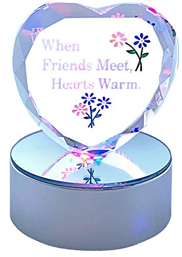 BANBERRY DESIGNS Friend Heart Decoration - Glass Heart on Silver LED Lighted Base - Engraved with When Friends Meet Hearts Warm and Flowers