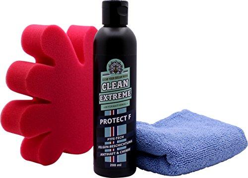 CLEANEXTREME Protect F Set Felgenversiegelung - mit 200 ml Felgen-Versiegelung, Applikationsschwamm & Mikrofaser-Poliertuch