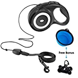 JolyJoy Retractable Dog Leash Heavy Duty Cord 26ft Extra Long, One Button Control & Tangle Free Quick Retracting Rope & Comfortable Grip for Small Puppy, Medium to Large Pet Breed Up to 110LB (Black)