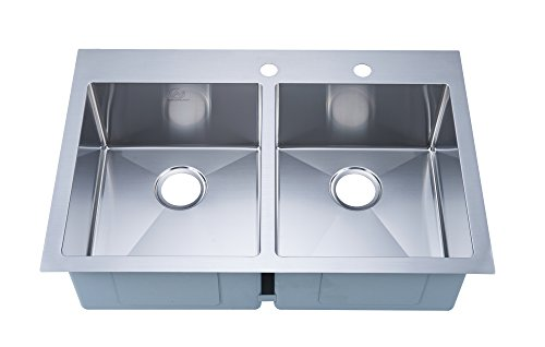 """Stufurhome NW-3322DO Over Mount Stainless Steel 2-Hole Double Bowl Kitchen Sink, Satin, 33"""""""