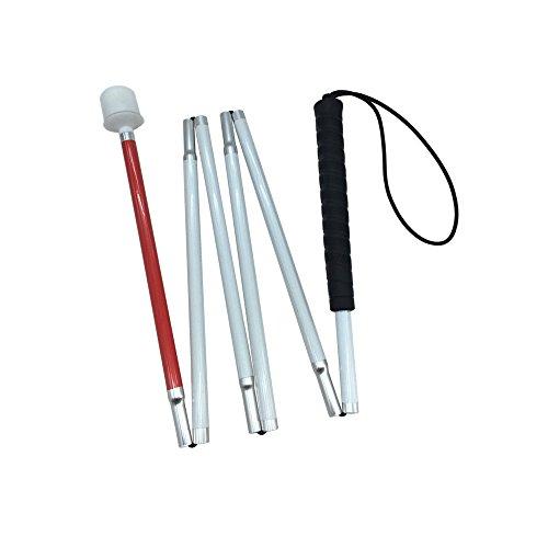 Blindenlangstock,weiße Stock,Faltlangstock mit Kautschukgriff, Kunststoff-Rollspitze, 6-teilig (125cm (49.2inch), Schwarz Griff)