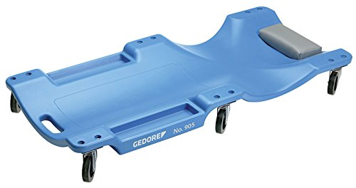 GEDORE Rollbrett, Kopf-/Nackenpolster, 2 Mulden für Werkzeuge/Kleinteile, Dynamische Tragkraft 130kg, Kunststoff (Polypropylen), Blau