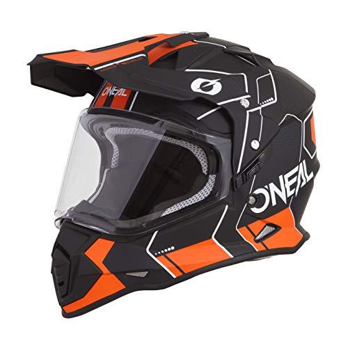 O'NEAL | Casco de Motocicleta | Moto de Enduro | Carcasa ABS, Visera Solar integrada | Peine de Casco Sierra | Adultos | Negro Naranja | Talla M (57/58 cm)