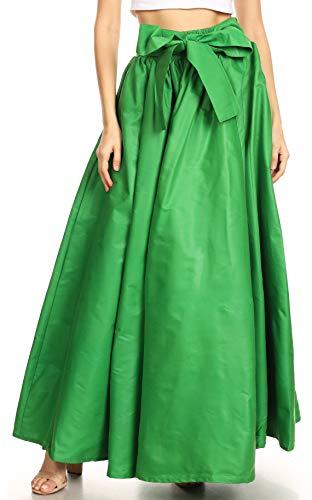 Sakkas 16317 - Gonna Maxi Regolabile con Cinturino Regolabile Tradizionale con Stampa a Cera Asma | Vestito - Verde - OS