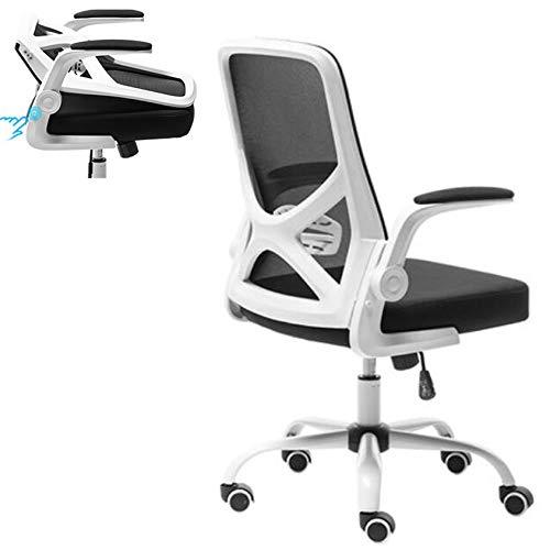 Flamrose Silla de malla con respaldo medio, reposabrazos y respaldo ajustables integrados, silla de oficina ergonómica, silla de escritorio para el hogar, sillas de ordenador (blanco)