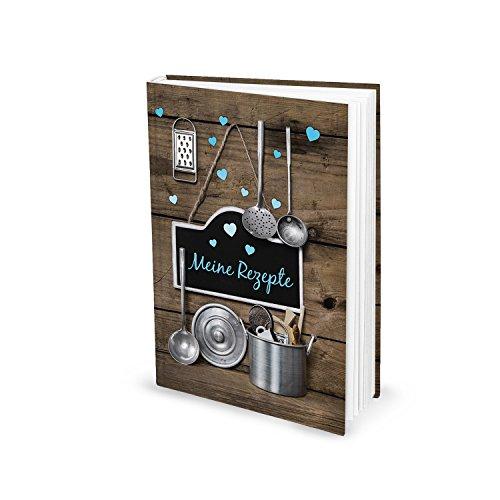Rezeptbuch zum Selberschreiben TÜRKISE HERZEN Vintage Nostalgie DIN A5 HARDCOVER Kochbuch Buch Meine Rezepte Lieblingsrezepte Geschenk Küche Kochen