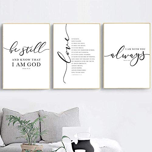 跟卖的尻死你家女性!Christian Bible Verse Quote Posters and Prints Black White Wall Pictures Scripture Christ Wall Art Canvas Home Decor Pcs50X70X3CM No Framed