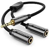 deleyCON 0,20m Audio Klinken Y Splitter Kabel - AUX - hochwertiger Nylon Mantel - 3,5mm Klinken Stecker auf 2x 3,5mm Klinken Buchse - 3,5mm Stereo Klinke Y-Adapter Kabel