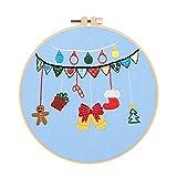 Qlans Aros de Bordado con Hilos de Color y Agujas Artesanías de Arte Patrón de Navidad Bordado Kit de Inicio