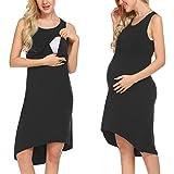 Unibelle Damen Umstandskleid Umstandsmoden Schwangerschaftskleider Maternity Kleid Sommer Kleid Stillkleid Stillnachthmd Ärmellos Schwarz XL