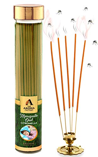 The Aroma Factory Mosquito Out Citronella Garden Incense Sticks Mosquito Repellent Agarbatti - Herbal and Natural (Bottle Pack of...