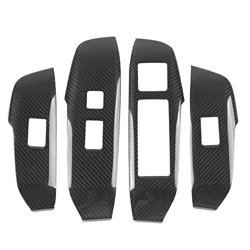Cubierta del botón del interruptor de la ventana de fibra de carbono del coche de 4 piezas, ajuste del panel de elevación Ajuste del interior del coche para NX200 200t 300h 16-20(LHD)