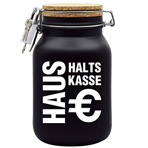 Spardose Haushaltskasse Schwarz mit Korkdeckel und Sparschlitz XL