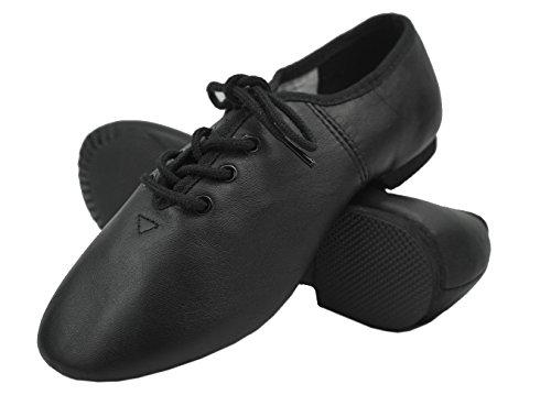 DANCEYOU Jazzschuhe mit Schnürsenkel Schwarze Tanzschuhe mit Geteilte Sohle aus Feinem Leder für Kinder und Erwachsene Schwarz Hellbraun EU29 bis EU43