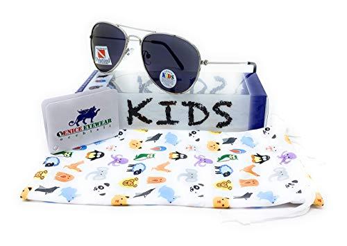 VENICE EYEWEAR OCCHIALI Gafas de sol Polarizadas para niño o niña - protección 100% UV400 - Disponible en varios colores (Plata Azul Espejo)
