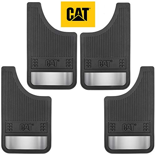Caterpillar Heavy Duty Splash Guards Pro Mud Flaps Fenders - Ultra Tough Dirt/Slush Protection with Night Reflectors - Easy Installation (4 Pcs for Front/Rear Tires) (CAGD-080+CAGD-080_ALT)
