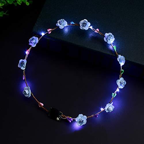 Xuniu Girls Headband with LED Light Up Fleur Bandeau Clignotant Lueur Couronne Partie Cheveux Guirlande Bleu