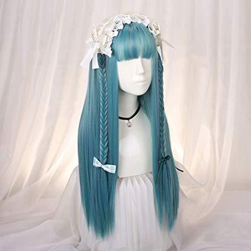 Peluca de la peluca de Lolita azul preciosa del partido del traje de Halloween cosplay Anime