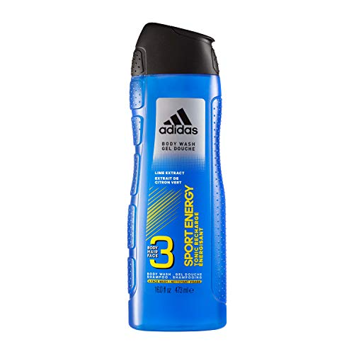 Adidas Sport Energy 3-in-1 Body Wash, Face Wash, and Shampoo in One with Lime Extract, 16 Fl Oz