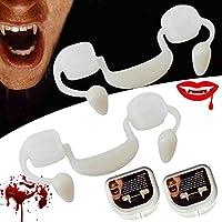 引き込み式のハロウィーンの吸血鬼の牙、再利用可能なハロウィーンパーティーコスプレ歯の小道具義歯ブレース、子供のためのホラー偽歯偽の歯の小道具大人のハロウィーンカーニバル、パーティー (1個)