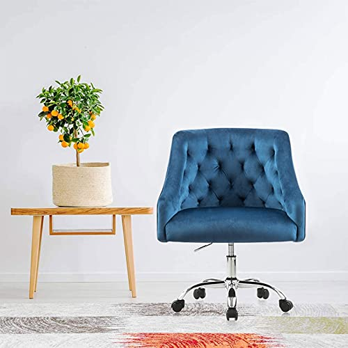 Home Office Desk Chair with Mid-Back Modern Tufted Velvet Fabric Computer Chair Swivel Height Adjustable Accent Chair with Arms for Study Living Bedroom(Navy Blue)