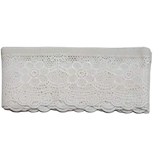 Acan Cenefa Decorativa de puntilla Adhesiva con Bordados Blancos 5 x 150 cm