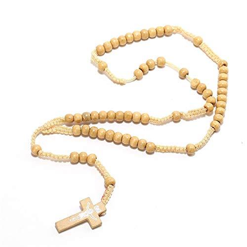LULUTING CQS Nuevo Cruz CRISTANTES DE VINTAYS Weet Mens's CATUCHO CATUCHO Cristo Madera Rosary Cross Pendiente Collar 4 Colores para Dropshipping (Color : Beige)