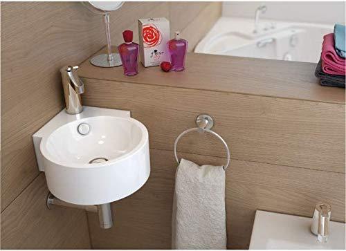 Waschbecken Design Handwaschbecken Eckwaschbecken klein 450 * 330 * 125 mm mm in Hochglanz weiß, mit Lotus Effekt (Dascha) von Art-of-Baan®