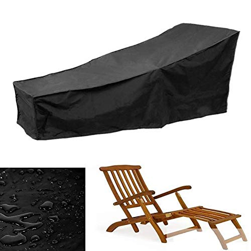 DLYDSSZZ Furniture Covers Black Lounge Chair Cover, Outdoor Waterproof & Dust-Proof Patio Chaise Lounge Cover - 210x77x79CM (Size : 210x77x79CM)