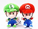 Nucifer Super Mario Baby Mario and Baby Luigi Stuffed Animal Toy Plush Toys Cartoon Figures Gifts for Christmas Valentine's Day (5.9 inch)