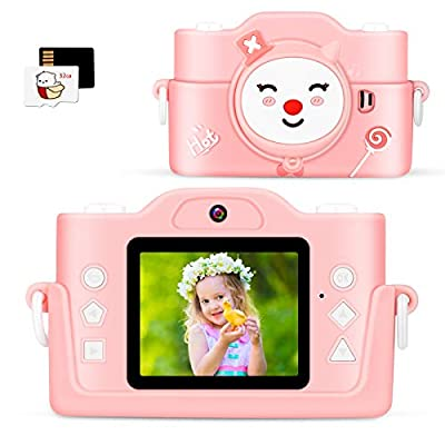 Dheera Kids Camera, 2020 Upgraded Dual Lens Children Digital Camera with MP3 Player and Puzzle Games for Girls/Boys, 1080P HD Selfie Video Camera with 32GB TF Card for Christmas Birthday Gift (Pink) from Dheera