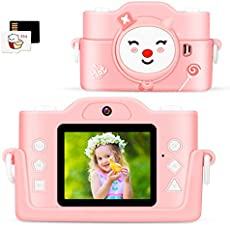Dheera Kids Camera, 2020 Upgraded Dual Lens Children Digital Camera with MP3 Player and Puzzle Games for Girls/Boys, 1080P HD Selfie Video Camera with 32GB TF Card for Christmas Birthday Gift (Pink)