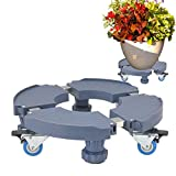 LVLING Adjustable Size Plant Flower Pot Stand with Wheels Heavy Duty Removable 15-20 Inch Plant Caddy Rack on Rollers...