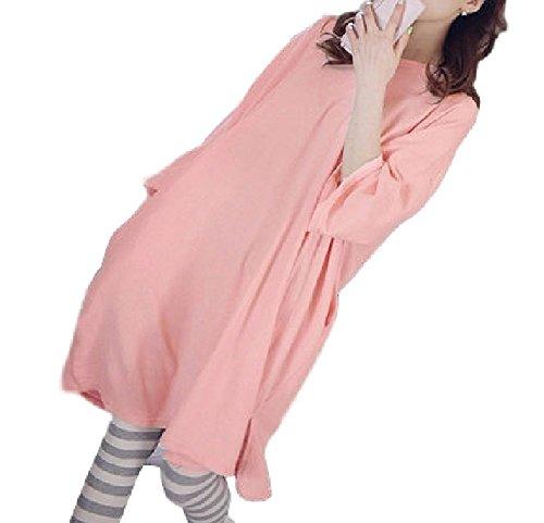 (Miwoluna) マタニティ 授乳服 パジャマ ルームウェア 家着 半袖 ゆったりサイズ ボーダーパンツ L