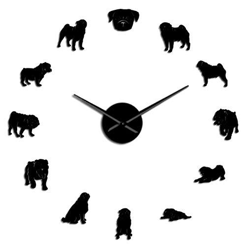 Reloj de pared Pug A Licious Pug Dog Diy Reloj de pared gigante Razas de perros Efecto de espejo Arte de la pared Tienda de mascotas Reloj de pared decorativo Regalo para los amantes del barro amasado