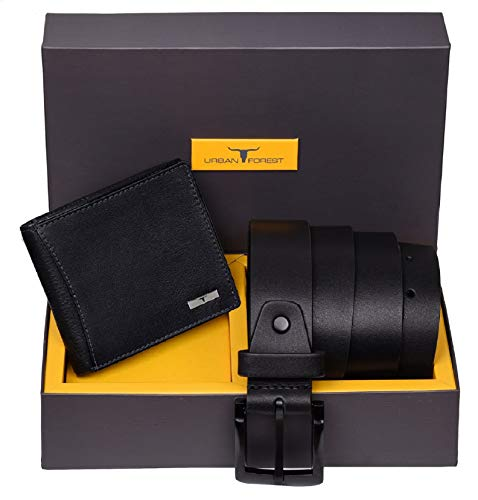 Urban Forest Brian Black Leather Wallet & Black Casual Belt Combo Gift Set for Men