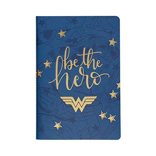 Wonder Woman x Erin Condren (College Ruled Layout) Lined Journal 5.75' x 8.25' - Be The Hero Cover. Great for Taking Notes, Creative Writing, Journaling, and More