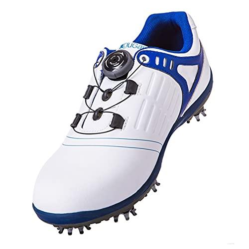 WUDAXIAN Zapatos de Golf Transpirables, Zapatos Deportivos Impermeables para Hombres, Botones de Cuero, Zapatillas de Golf...