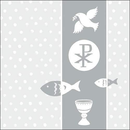 20 Servietten Kirchliche Symbole Silber an Punkte als Tischdeko zur Kommunion, Konfirmation und Taufe 33x33cm